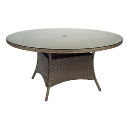 Woodard Savannah Round Umbrella Table with Glass Top - S620604