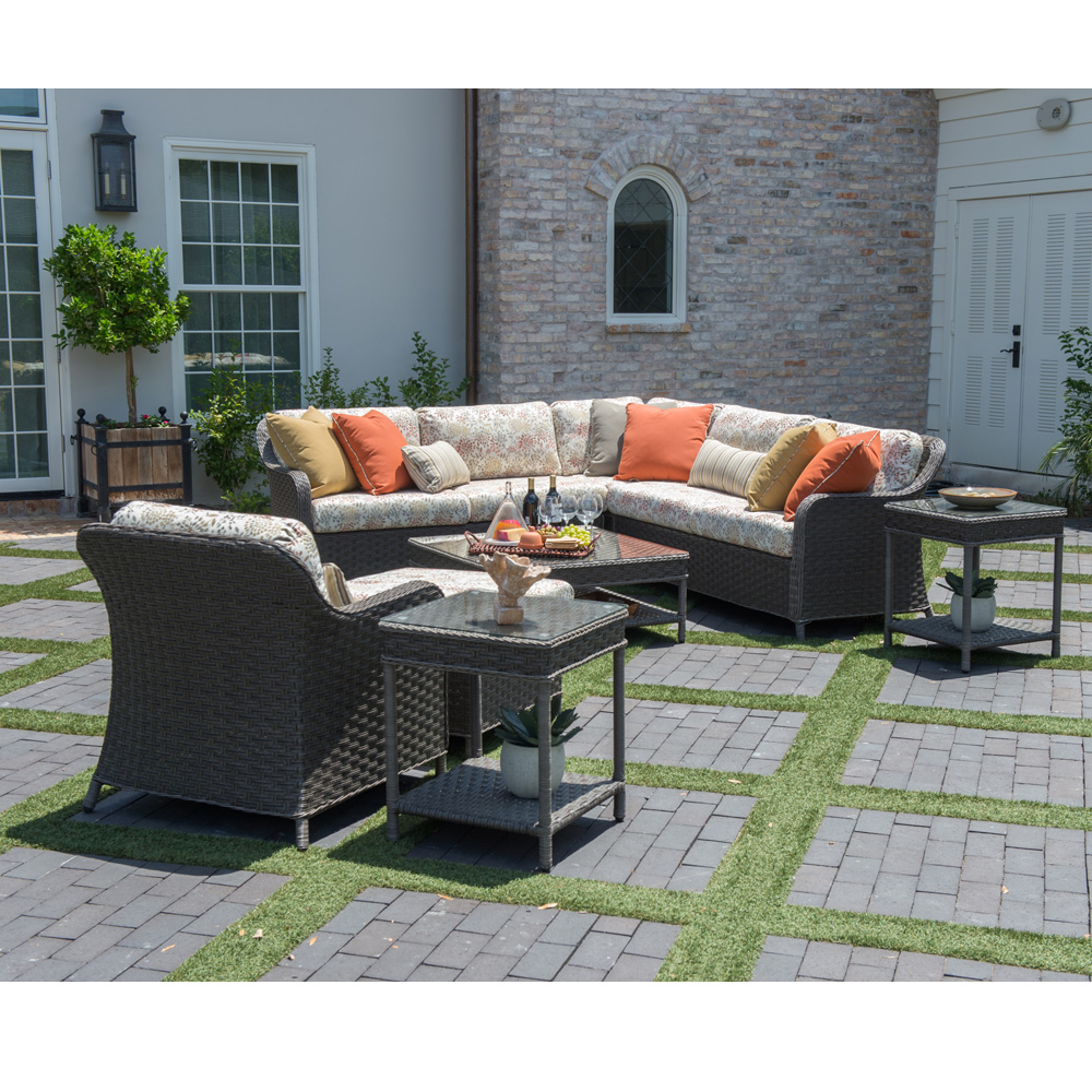 Woodard Savannah Wicker Patio Sectional Set   WD SAVANNAH SET3