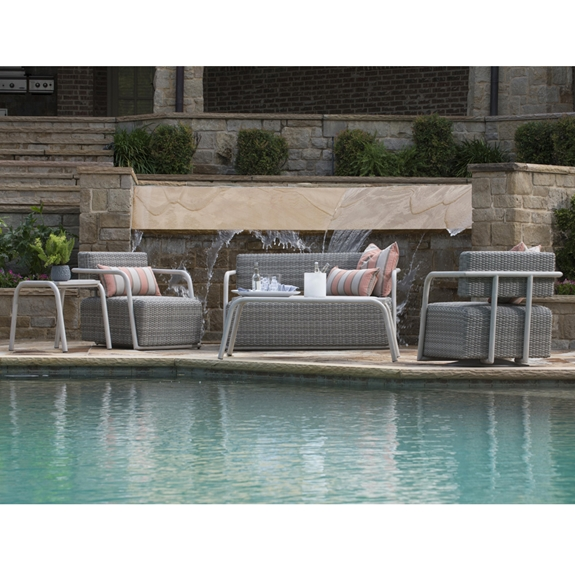 Swell Woodard Scout Outdoor Wicker Love Seat And Lounge Chair Set Caraccident5 Cool Chair Designs And Ideas Caraccident5Info