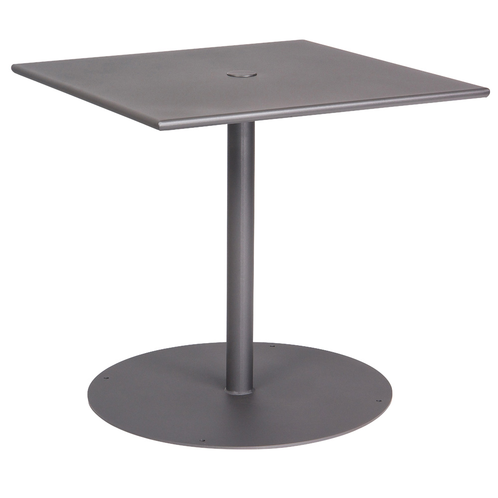 "60 Inch Square Pedestal Table: Woodard ADA Compliant 42"" Solid Top Umbrella Table W/ Pedestal Base"