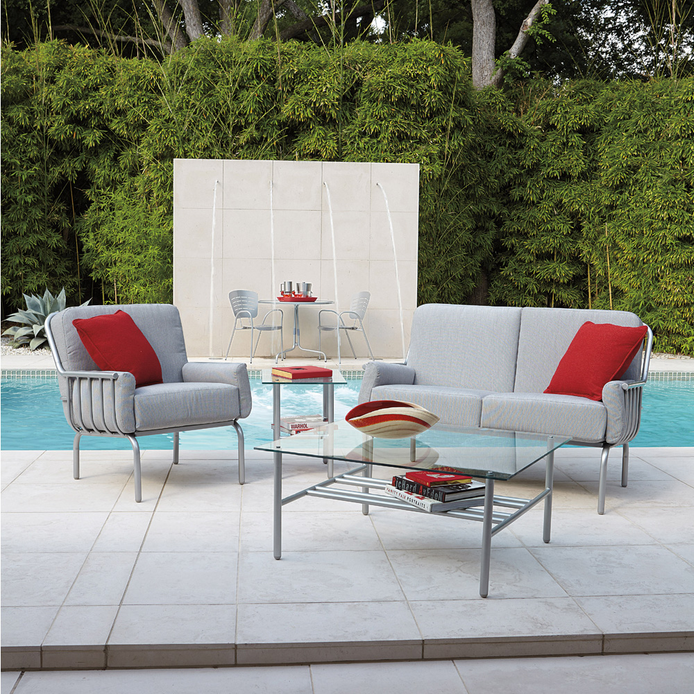 Woodard Uptown Modern Wrought Iron Loveseat and Lounge Chair Set - WD-UPTOWN-SET2
