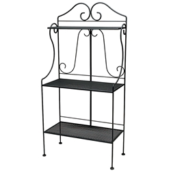Woodard Wrought Iron Deluxe Bakers Rack with Mesh Shelves - 7J0289